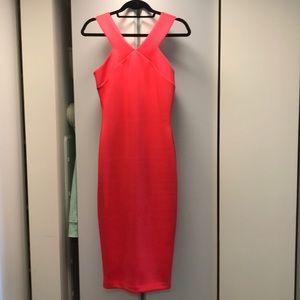 Ted Baker Hot Pink Midi Zipper back Scuba Dress